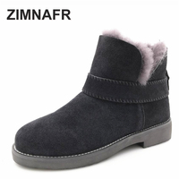ZIMNAFR BRAND 2017 WOMEN FUR SNOW BOOTS GENUINE LEATHER WINTER BOOTS ANTISKID COW LEATHER ANKLE BOOTS