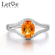 Leige Jewelry Natural Citrine 925 Sterling Silver Ring Yellow Gemstone November Birthstone Oval Cut Promise Engagement Rings