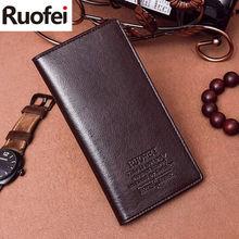 RUOFEI men Leather Men Wallets Business Brand Card holder Coin Purse Men's Long Zipper Wallet Leather