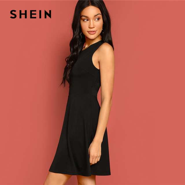 SHEIN Sexy Black Lace Insert Open Back Skater Fit and Flare High Waist Sleeveless Fitted Mini Dress Women Summer Solid Dresses 2