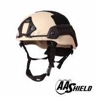 AA Shield Ballistic Tactical Middle Cut Helmet Bulletproof Teijin Aramid Cord Safety NIJ Level IIIA Military Army Color Tan