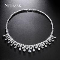 ZOEVON Luxury 29 Pcs Pear Shaped Zirconia Diamond Statement Necklace Brand 18k White Gold Plated Women