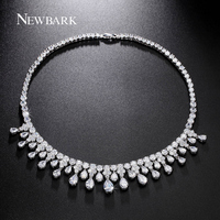 ZOEVON Luxury 29 Pcs Pear Shaped Zirconia Diamond Statement Necklace Brand 18k White Gold Plated Women