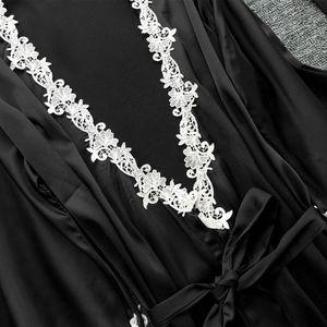 Image 4 - Womens Plus Size Summer Faux Silk 5 Piece Pajamas Set Crochet Floral Lace Applique Trim Sleepwear Solid Color Nightgown Babydoll