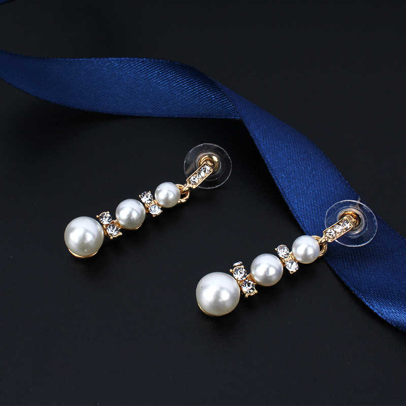 jiayijiaduo Imitation pearl jewelry set necklace long earrings set for glamour women dress accessories gold color
