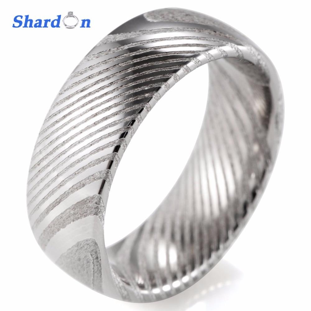 SHARDON Wedding & engagement jewelry Men\'s rings 8mm trendy Damascus ...