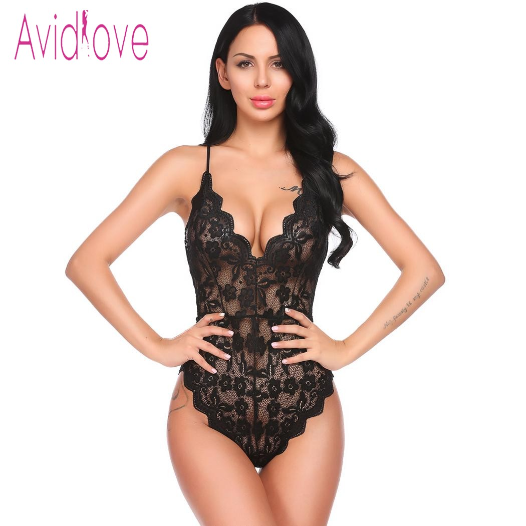 Avidlove Babydoll Sexy Hot Lingerie 2018 Women Underwear V-Neck Backless Floral Lace One Piece Bodysuit Sleepwear Sex Clothes