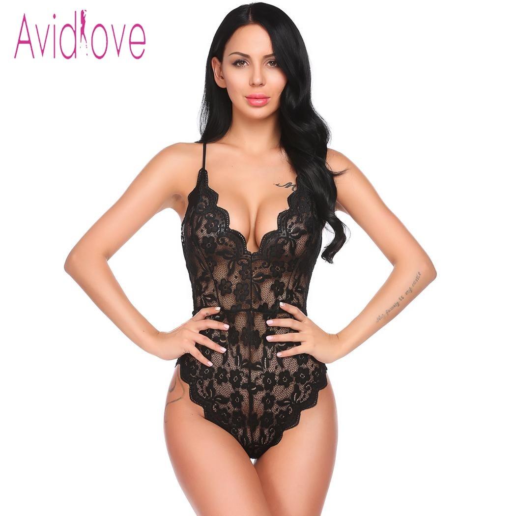 Avidlove Babydoll Sexy Hot Lingerie 2018 Women Underwear V-Neck Backless Floral Lace One Piece Bodysuit Sleepwear Sex Clothes