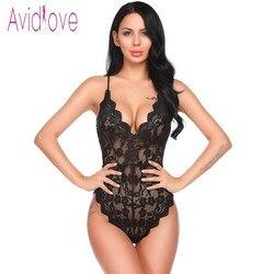 Avidlove Babydoll сексуальное женское белье 2018 женское нижнее белье с v-образным вырезом с открытой спиной цветочное кружево цельный комбинезон-Пиж...