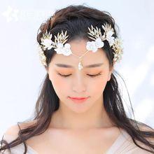 Elegant Bridal Crystal Crown Silk Yarn Wedding Waterdrop Leaf Tiara Frontlet Bridesmaid Jewelry Hair Accessories Hair Ornaments