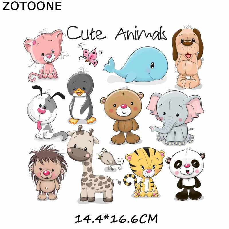 ZOTOONE Urso Bonito Animais Patches Iron-on Transfers para T-Shirt Crianças Dom DIY Roupas Adesivos Golfinho Lindo Apliques G
