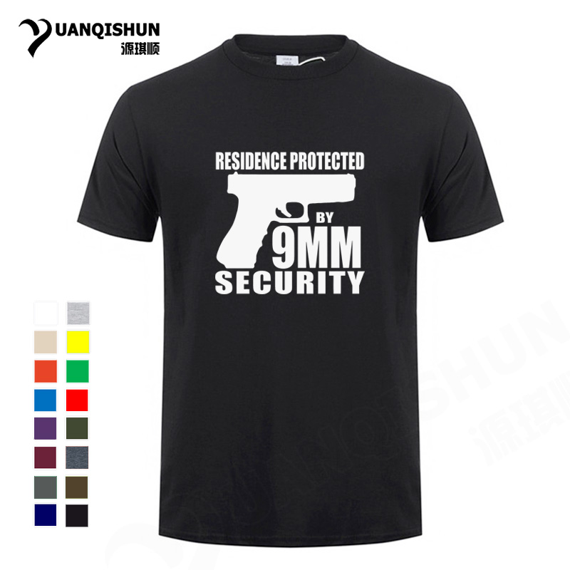 41feafda1 Boutique T-shirt Fun Men T shirt Game Pistol RESIDENCE PROTECTED BY 9MM  SECURITY Letter