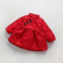 The winter of 2016 new girls' festival New Year festival with lace cotton dress plate buckle  dress age from 2-6T