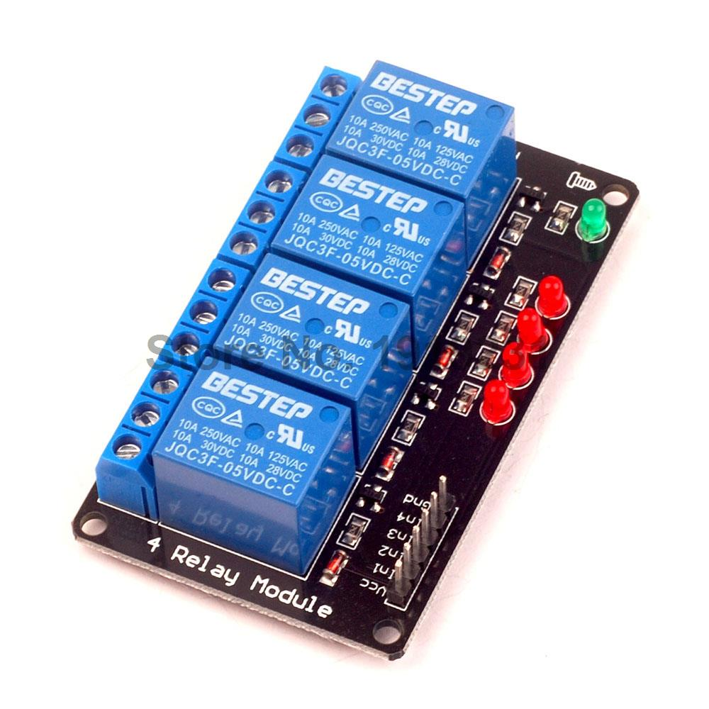 20PCS 4 Channel 5V Relay Module lamp Low level for SCM Household Appliance Control