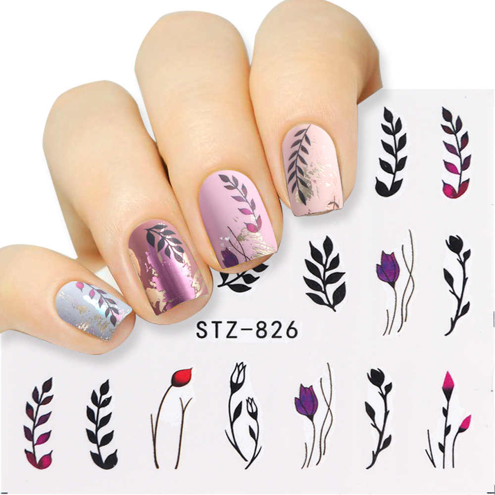 1pcs Flower Leaf Design Water Nail Stickers Water Decal Nail Art Slider Manicure Wraps Decoration Color Tattoo Tips Jistz824 844 Aliexpress