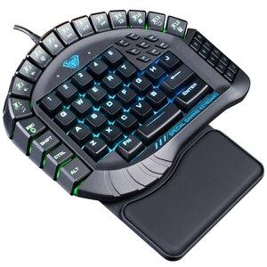Image 4 - AULA Single Hand Macro RGB Backlit Mechanical Keyboard Blue Switch PUBG Game Gamer One Hand Split Mini Gaming Keyboards Computer
