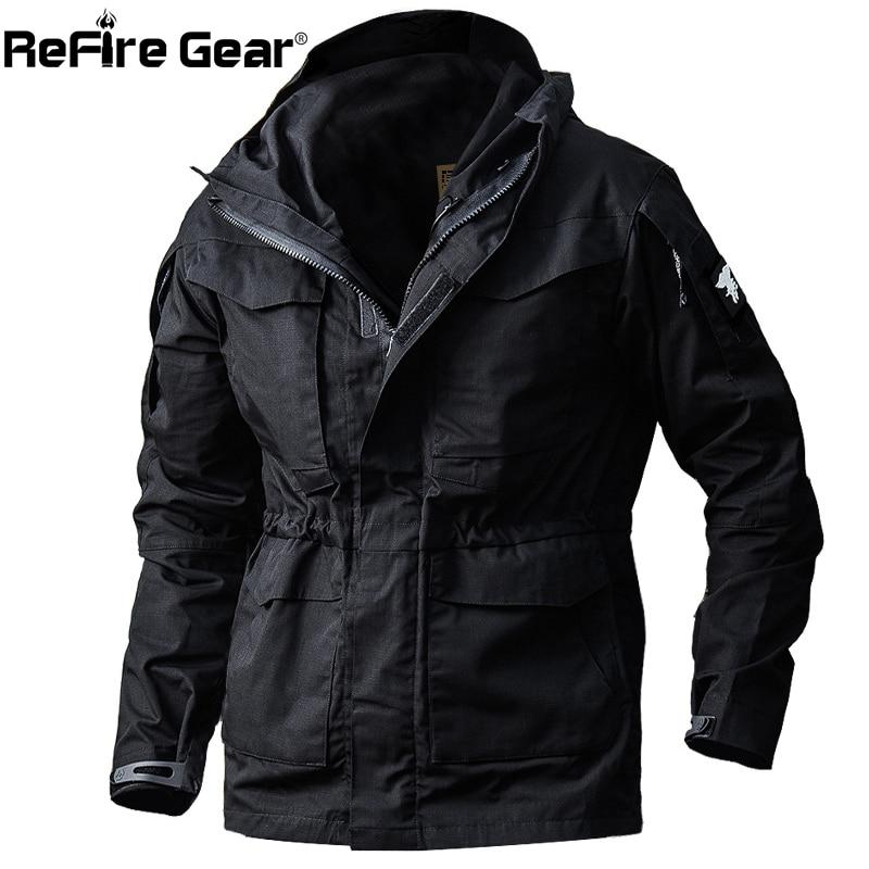 Refire engrenagem campo do exército tático jaqueta masculina impermeável rip-stop camuflagem militar jaquetas outono multi-bolsos casaco blusão