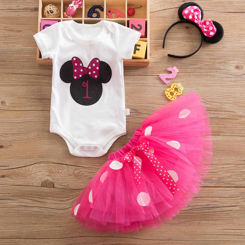 My Baby Minnie Dress for Girl Christening Gown 1st Birthday Party Wear Toddler Fancy Child Costume Infant Mouse Dresses 12M