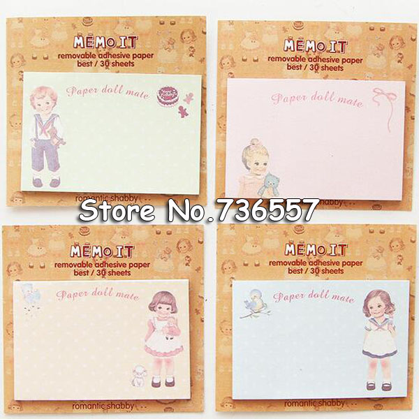 2pcs Post Sticky Notes Paper Doll Mate Removable Adhesive Memo Note It Gift Cute Stationery Office School Supplies A6651