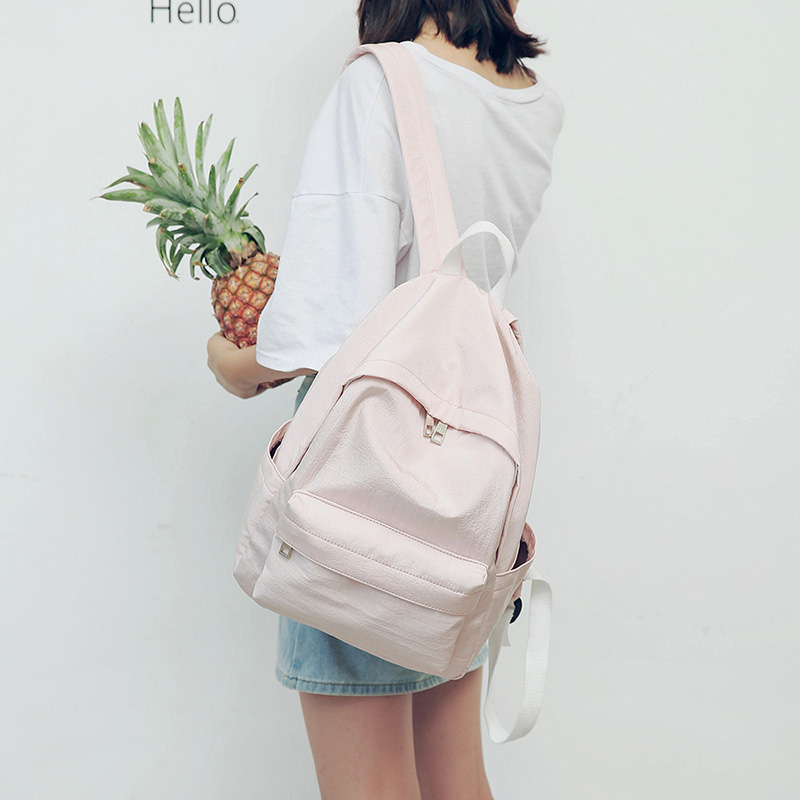 New backpack girl, small fresh powder polyester, shoulder bag, college bag 2017 small fresh mini shoulder bag with three pairs of ears can replace the small backpack cute modeling trend backpack y088