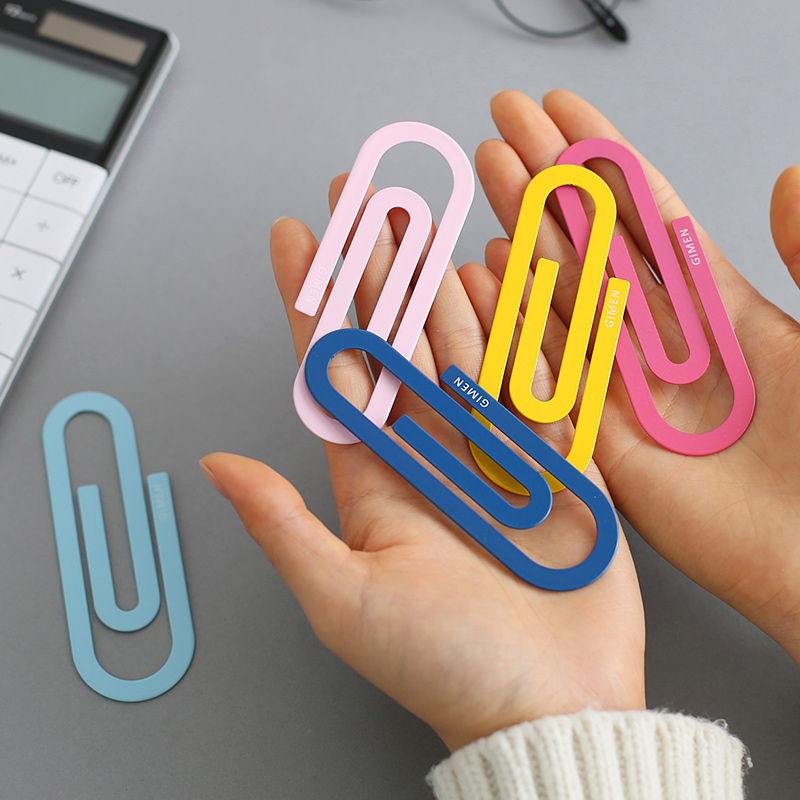 2pcs/pack Large Metal Colored Paper Clips 30mm*100mm Note Clips 5 Colors Available Large Wide Paper Clips Drop Shipping