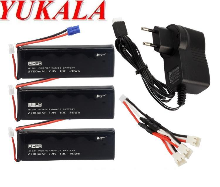 YUKALA H501S RC quadcopter RC drone 7.4V 2700mAh  Li-polymer battery*3pcs +3 in 1 wall charger free shipping yukala ft012 2 4g rc racing boat hq734 rc car 11 1v 2700 mah li polymer battery