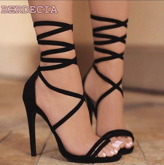 01c5a2a8c9a sexy black lace up thin heel sandals ankle strap open toe woman shoes young  girls favorite shoes 2017 new fashion dress sandals