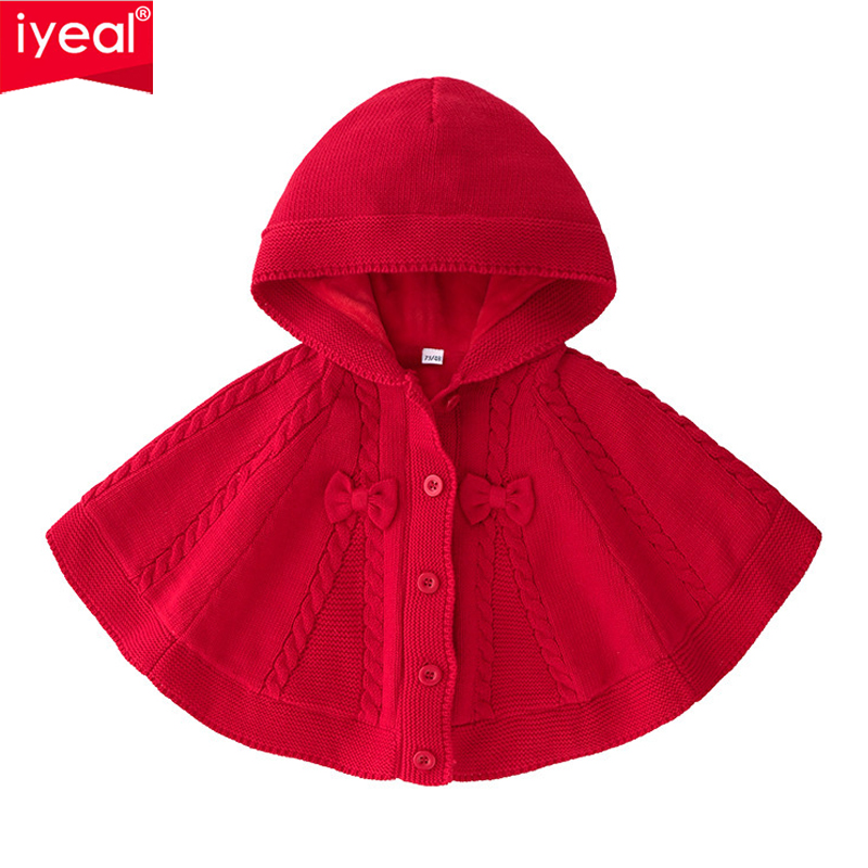 IYEAL Newborn Kids Baby Girl Clothes Cotton Warm Velvet Knitted Sweater Hooded Red Cloak With Bow for Children Toddler Girls