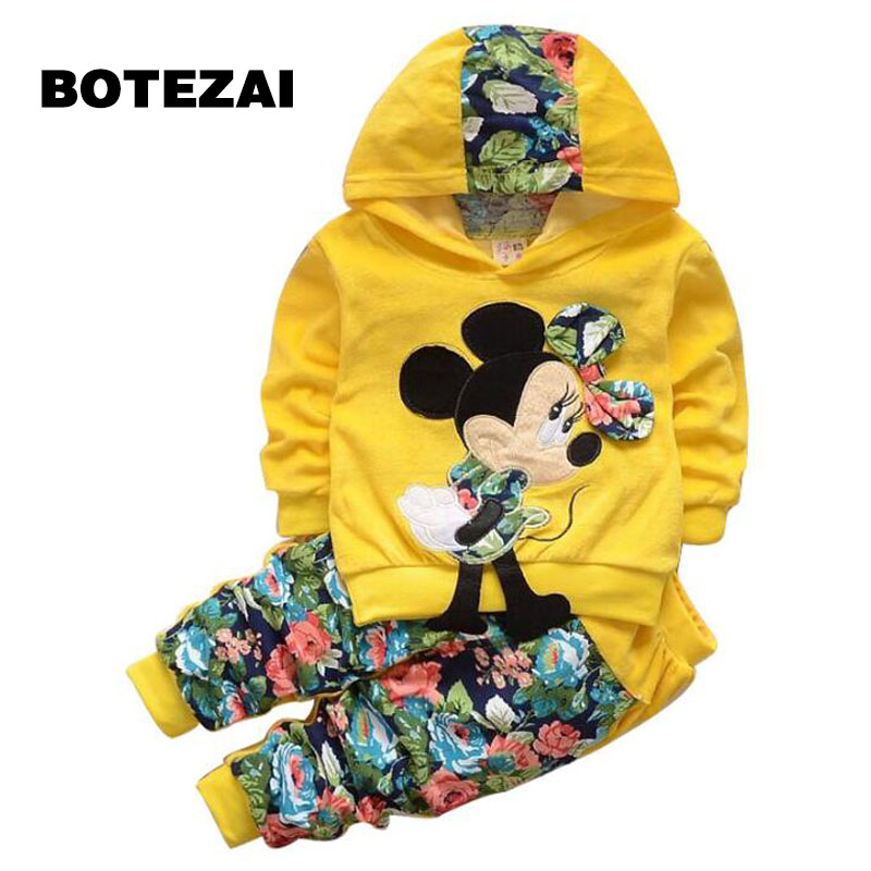 Baby Girl Clothing Sets Kids Children 2017 spring velvet clothing set Cartoon Minnie baby girls sport suit Hoodies + Pants