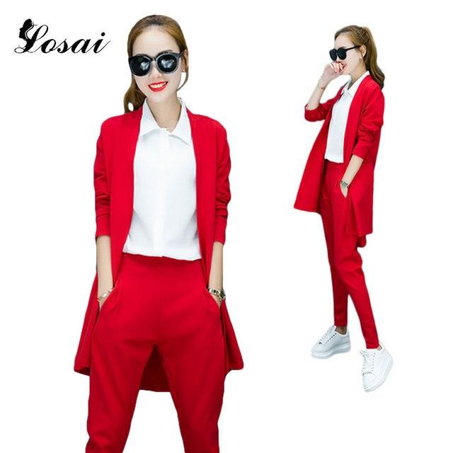 Ufficio Donne di Modo OL Lungo Blazer Suit Top   Pants 2 pc Che Coprono Gli d1293fe6b29