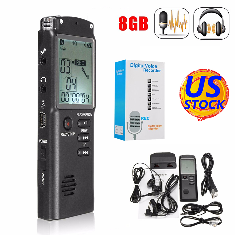16GB 8GB Rechargeable LCD Digital Audio Sound Voice Recorder Voice Activated Recorder Dictaphone MP3 Lossless Player 1 6 screen digital voice recorder mp3 player black 8 gb