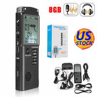 16GB 8GB Ricaricabile LCD Digital Audio Audio Voice Recorder Voice Activated Dittafono del Registratore Lettore MP3 Lossless
