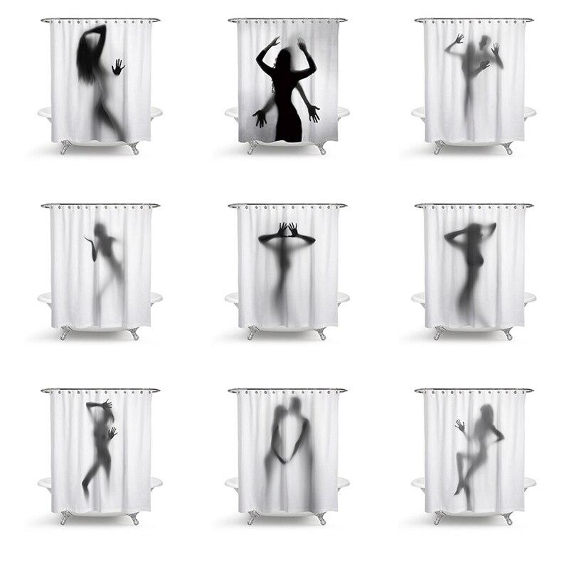 Fashion Creative Sexy Girl And Women Shadow Silhouette Bath Shower Curtain Waterproof -1603