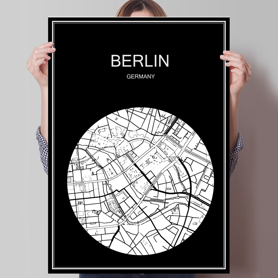 World city map berlin germany print poster print on paper or canvas wall sticker for bar
