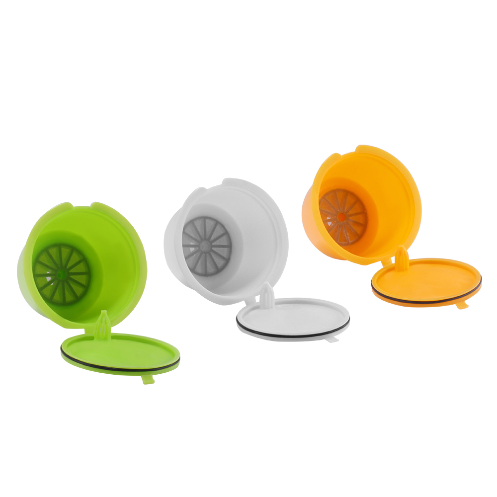 3pcs Coffee Filters For Dolce Gusto Refillable Reusable Coffee Capsule Plastic Baskets Caps Set Spoon Filter Pod Soft Taste