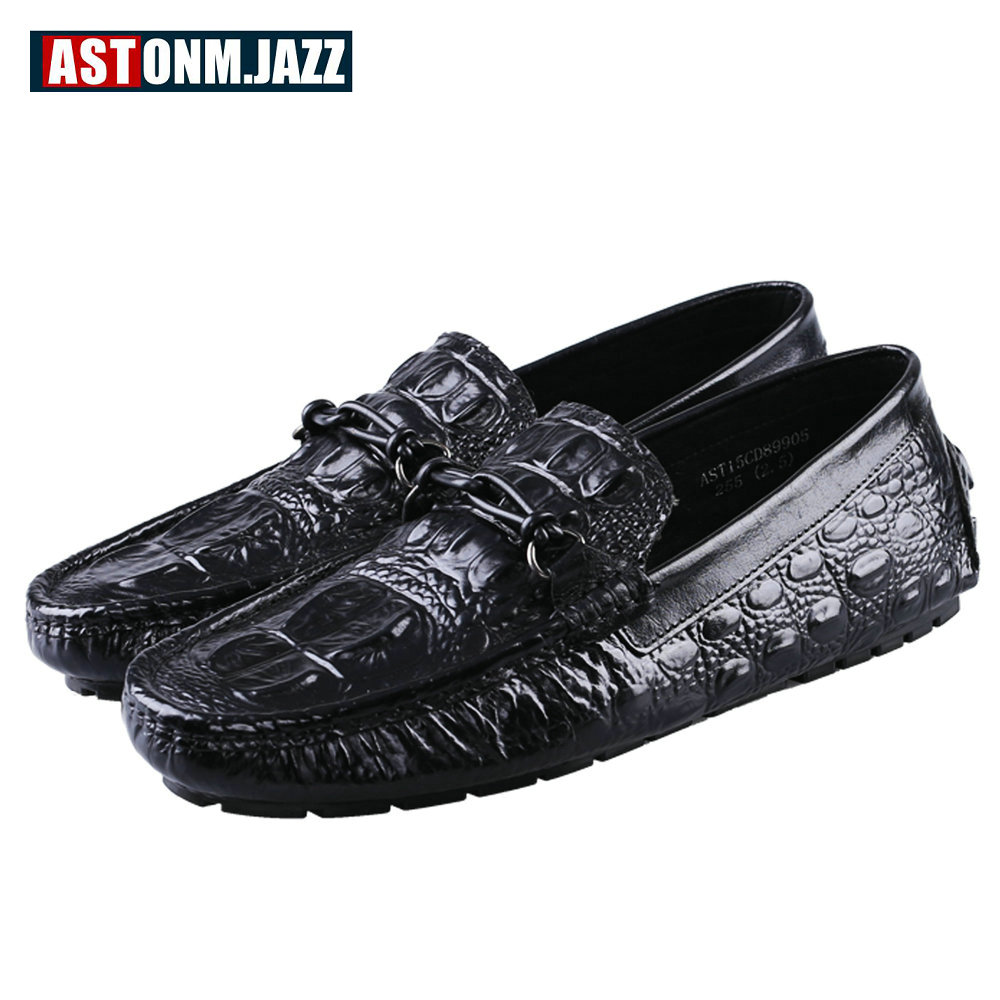 Men's Full Grain Leather Shoes Casual Crocodile Driving Shoes Slip-on Boat Shoes Fashion Moccasins For Men's Loafers New Quality men s slip on loafers casual crocodile leather loafers breathable moccasins shoes boat shoes driving shoes flat shoes for men
