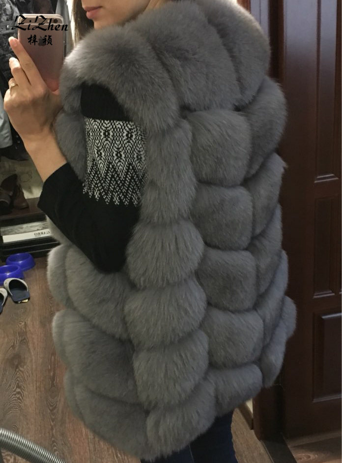 Zizhen winter echte fuchspelz weste frauen volle fell weste warme - Damenbekleidung - Foto 3