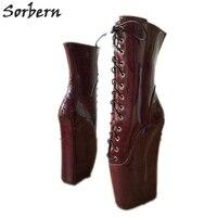 Sorbern бордовые Блестящие ботильоны унисекс балетные костюмы Клин каблучки сапоги и ботинки для девочек БДСМ обувь широкие сапоги до середин
