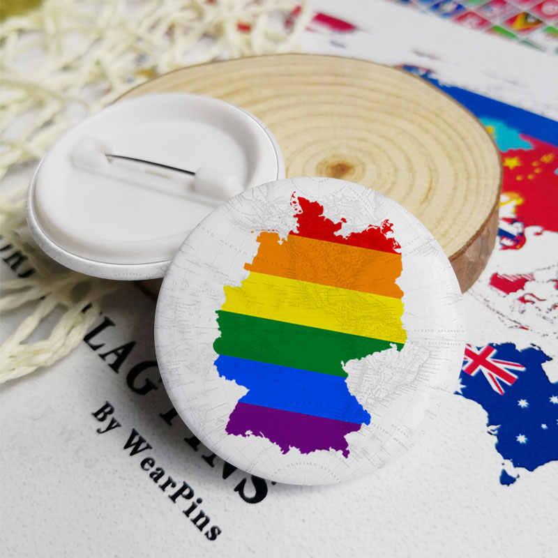 Jerman Bendera Peta Tombol Timah Pin LGBT Gay Rainbow Pride Tombol Timah Lencana
