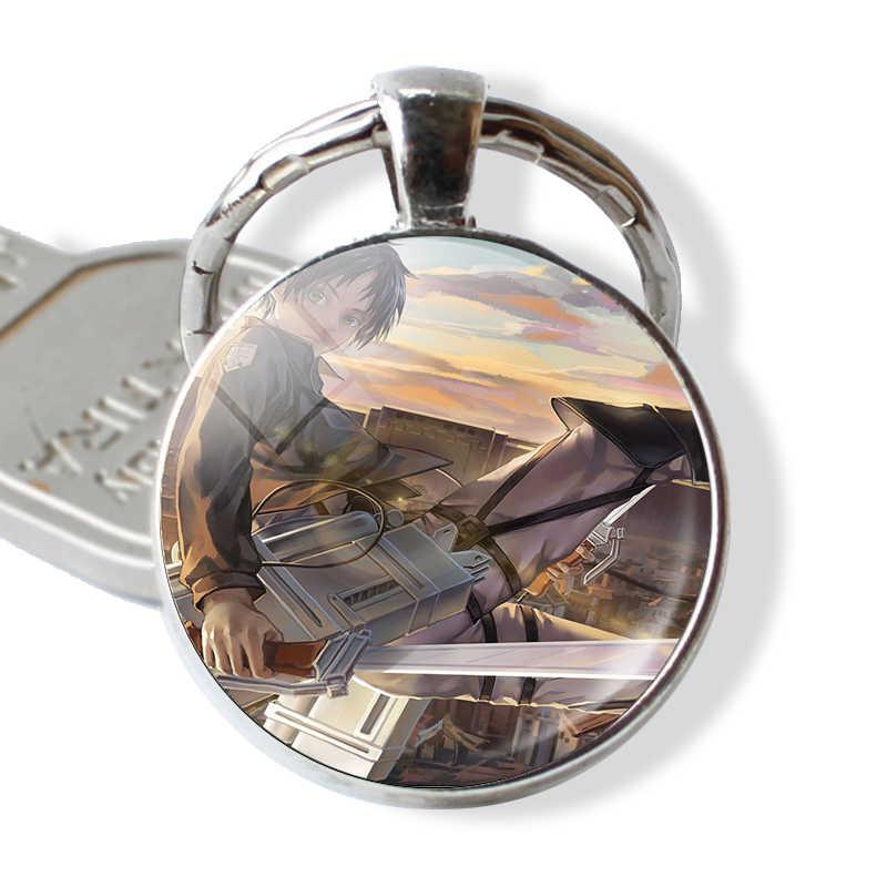 Anime Tấn Công Titan Keychain Levi Rivaille Cosplay Quà Tặng Glass Cabochon Keychain Keyring Chìa Khóa Xe Giữ Phim Hoạt Hình Đồ Trang Sức