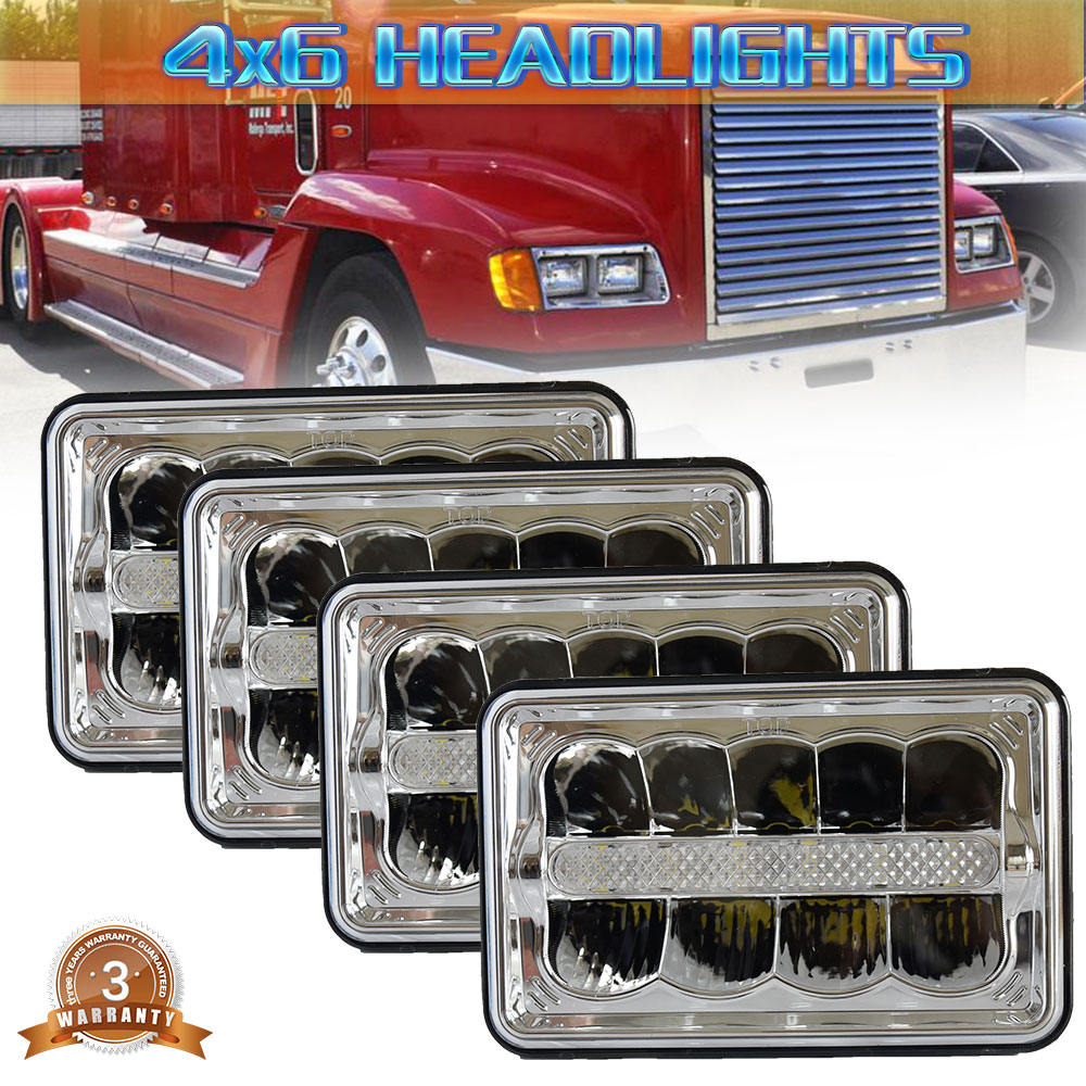 4 Pcs 2Pcs 1Pcs 4x6 inch 45W LED truck headlight replacement H4651/H4652/H4656/H4666/H654 H4 plug work light for fire truck