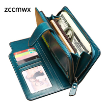 Купить с кэшбэком ZCCMWX 2018 New Arrivals Fashion Long Women Wallets Female Split Leather Wallet Women Ladies Purse Zipper Phone Bag