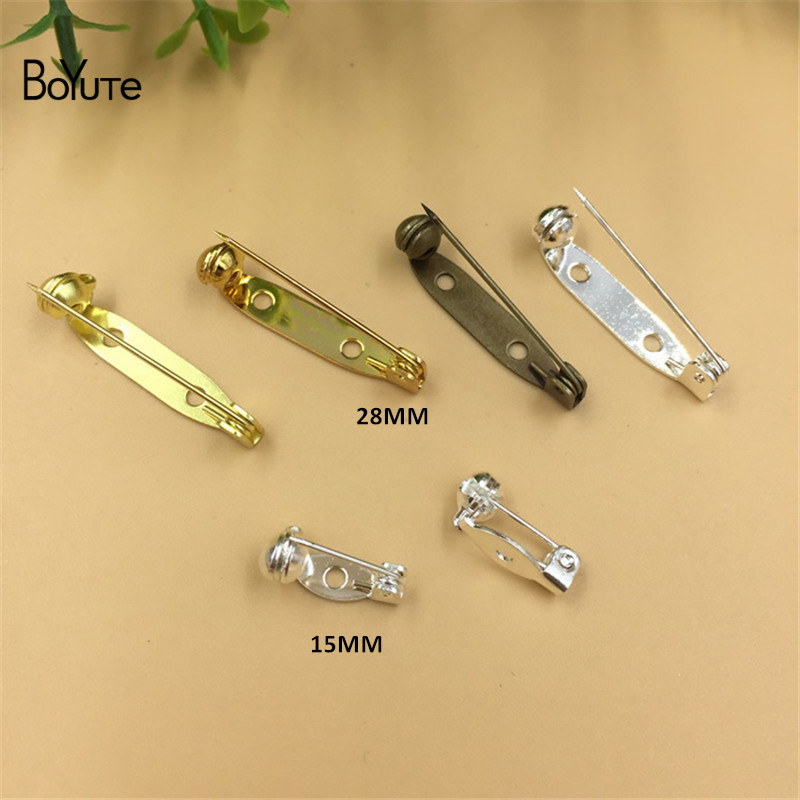 BoYuTe 100Pcs 15MM 28MM Length Pins Jewelry Accessories Diy Hand Made Safety Pin Brooch Base (1)