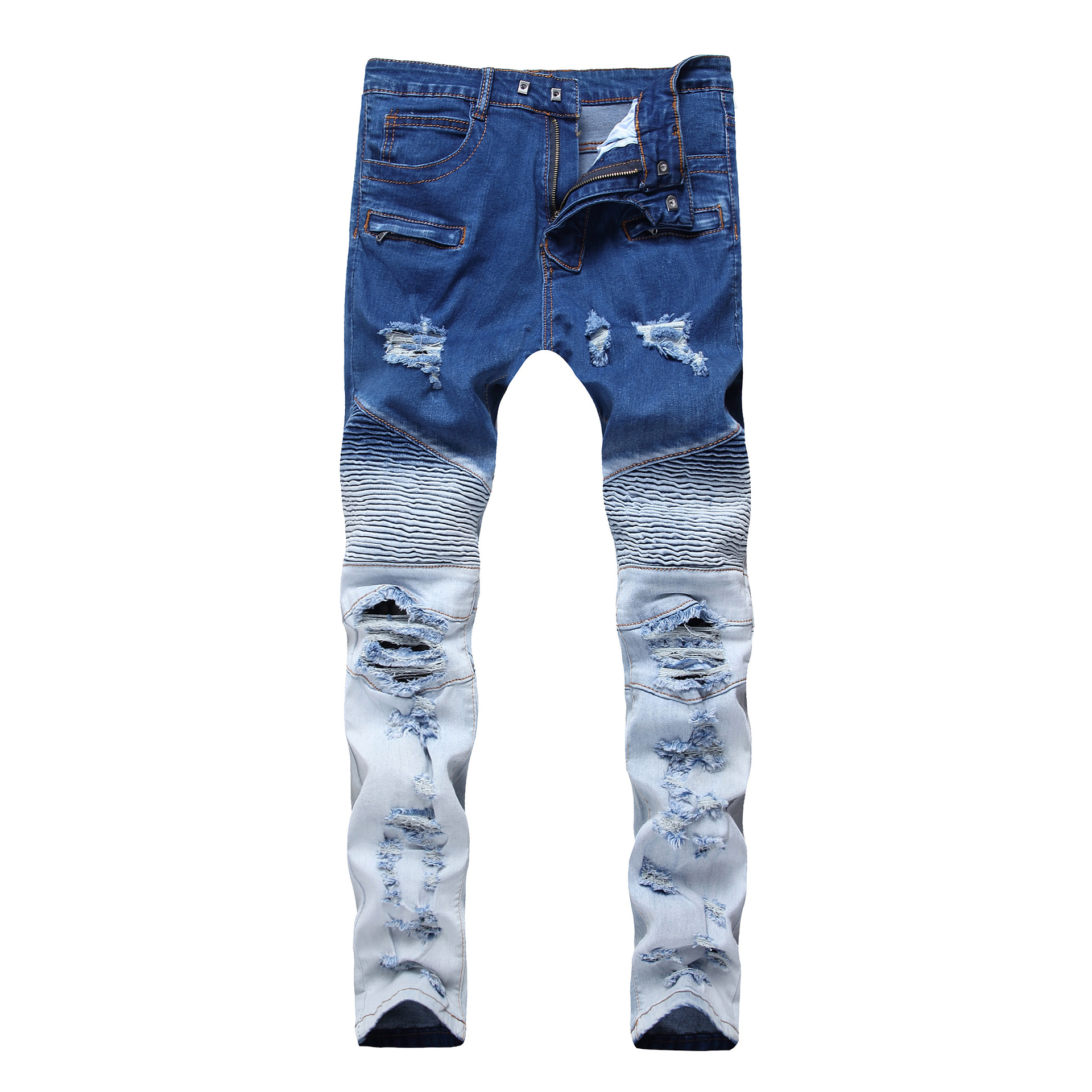 Mens Motorcycle Jeans Zipper Stretch Fashion Hole Trousers Colorblock Ripped Washed Streetwear Skateboard Straight Pants