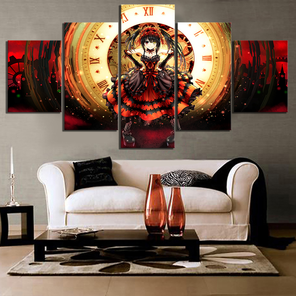 5 Piece HD Anime Girl Pictures Tokisaki Kurumi DATE A LIVE Poster Animation Art Canvas Paintings for Home Decor 1