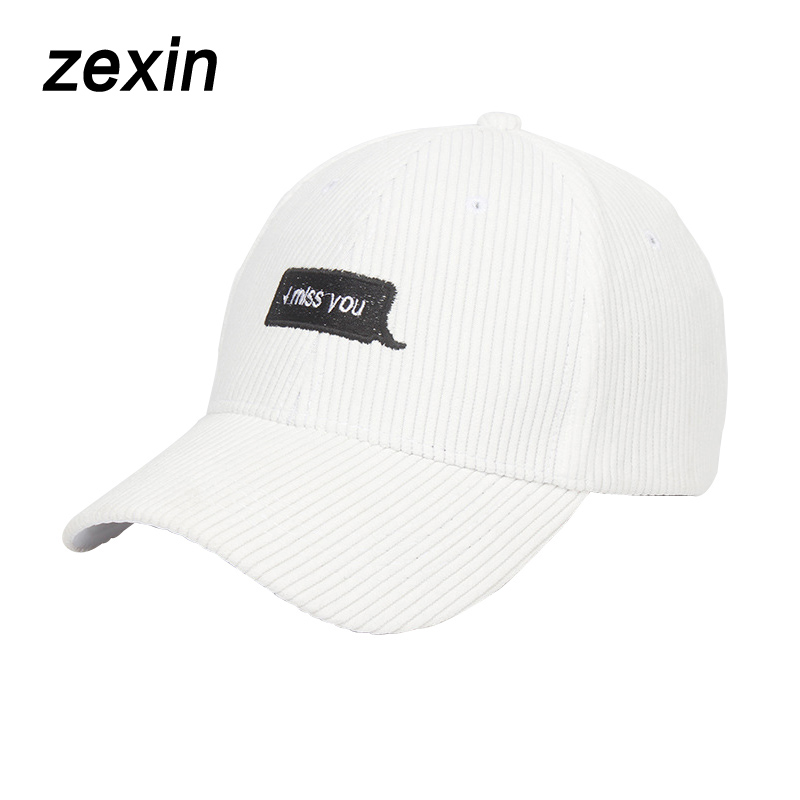 New Arrival Corduroy Baseball Cap For Women Spring Summer Embroidery Letter Snapback Sun Hat Unisex Men Adjustable Bone Cap new 2017 watch dogs aiden pearce black baseball cap sun hat cosplay adjustable strap snapback cap men