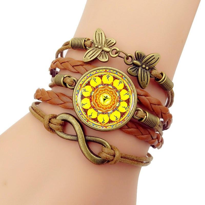 New Trendy Handmade Knitted Leather bracelet Solar plexus chakra Vintage Butterfly Infinity bracelets birthday present