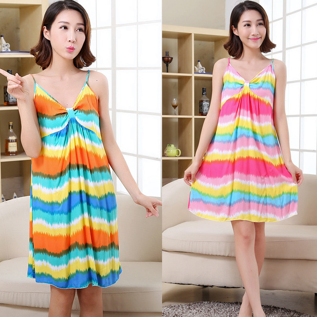 76ee0dc2d9 Women Cotton Nightgown Floral Sleep Dress Sleeveless Sleep Shirt Plus Size Night  Shirt Sexy Nightwear Casual Home Dress B-5415