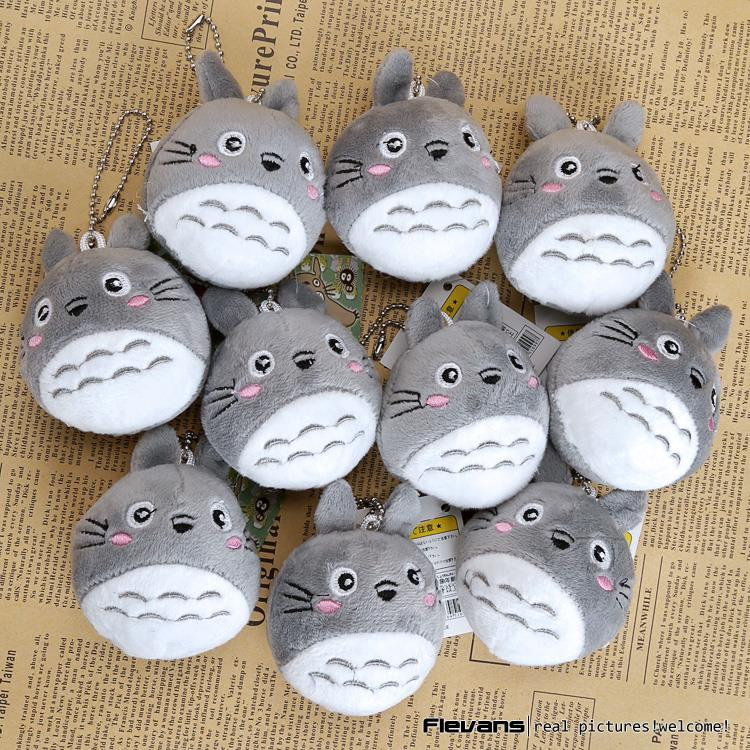 Ghibli Miyazaki Hayao My Neightor Totoro Cute Cat Totoro Plush Toy with Key Ring Stuffed Animal Doll 8cm 10pcs/lot 3 Styles miyazaki hayao maiden house will be a small witch kiki doll with a rope car keys ring bell action toy figures hobbies