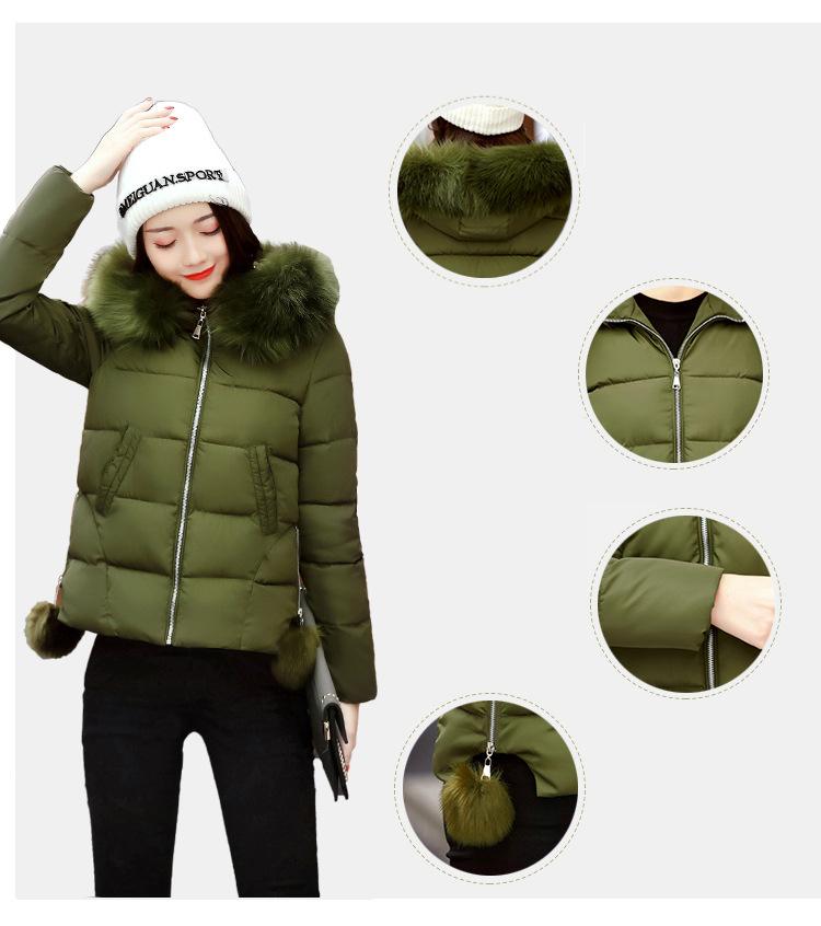 Short Women Basic Jackets Streetwear Warm Casual Coats Female Parka Cotton Hooded Winter Women Jacket Coat Outwear 19 DR114 4